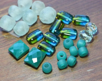 Blue Green and Turquoise Beads Assortment Variety Mixed Lot Destash Beads Recycled African Glass Onyx Jewelry Making