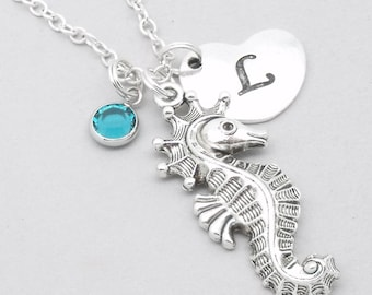 Seahorse heart initial necklace   seahorse necklace   seahorse pendant   personalised seahorse necklace   seahorse jewelry   birthstone