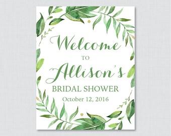 Green Bridal Shower Welcome Sign Printable - Garden Party Bridal Shower Customizable Sign - Green Botanical Wreath Bridal Shower Decor 0021