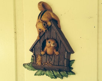 Cute Vintage Chipmunk WallHanging from the 70s - Made in USA by Dart Industries for Homco 7493