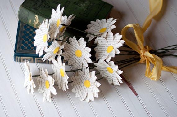 One dozen paper book page daisies mightylinksfo Choice Image