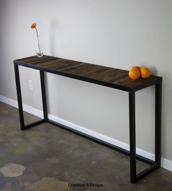 Sofa Table With Reclaimed Wood. Modern Vintage Console Table.