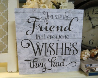 """Wood Friend Sign, """"You are the FRIEND Everyone Wishes They Had"""", Friend Birthday Gift, Best Friend Gift"""