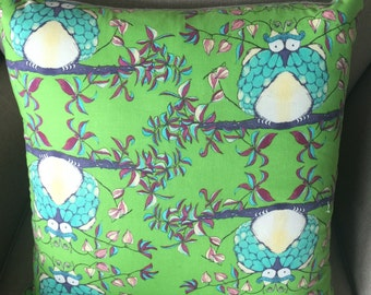 Tina Givens for Free Spirit Opal Owl collection Opal's House Green cushion cover/pillow 45cm
