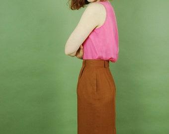 Vintage linen pencil skirt / Sienna brown linen work skirt / USA made linen knee length skirt / Classic 90s minimalist linen skirt
