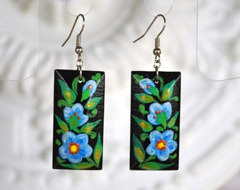 Gift ideas|for|her navy blue Flowers jewelry handmade earrings dangle earrings paint jewelry black blue earrings folklore jewelry designers