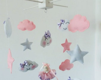 Stars and clouds nursery mobile, ballerina nursery mobile, baby girl nursery mobile- handmade