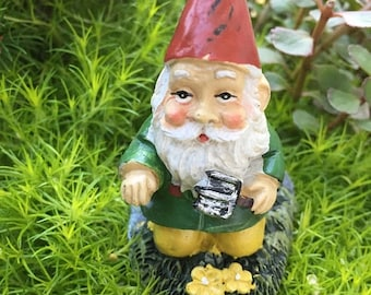 SALE Mini Gardening Gnome Figurine, Kneeling Gnome With Garden Shovel, Miniature Gardening Accessory, Home and Garden Decor, Mini Gnome