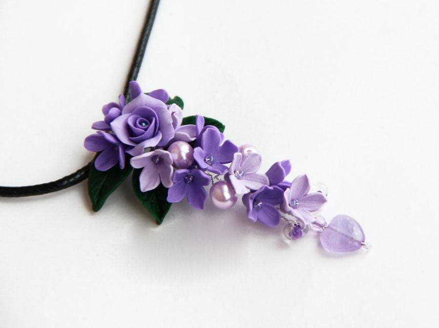 Purple pendant purple necklace violet necklace flowers zoom mozeypictures Gallery