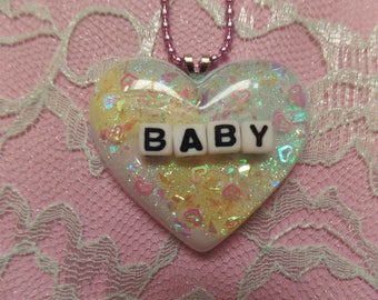 Kawaii Baby Resin Heart Necklace