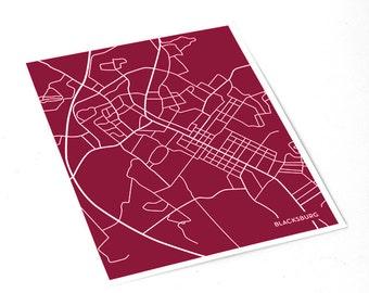 Blacksburg Map City Art Print / Virginia Tech University Wall Art / 8x10 / Custom Colors