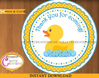 INSTANT DOWNLOAD - Rubber Duck - Printable Thank You Favor Tag- Sticker - labels - Rubber Ducky - Favor Tag - Birthday - Party - Baby Shower