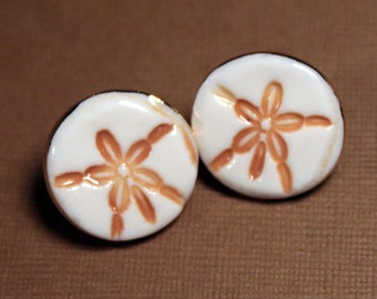 Sand Dollar Earrings Handmade Porcelain Ceramic Jewelry