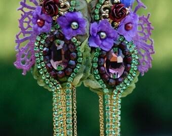 Fairy tale  Marie Antoinette earrings, textile lightweight earrings, bead embroidered earrings, Baroque era earrings, mixed media earrings