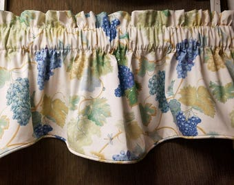 "Lined ""M"" Valance - Custom Quality - Grape arbor - Waverly fabric - Window Curtain - 53"" wide x 16"" long - Morningstars Design"