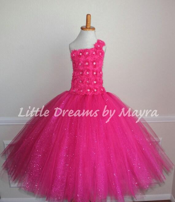 Hot Vestido de tutú rosa brillo vestido de partido caliente