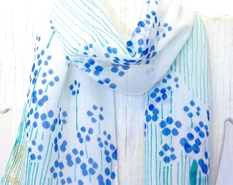 Hand Painted Silk Scarf, Summer Scarf. Petite Blue Sumi Wildflowers. Pastel fashion. Silk Chiffon Scarf Floral. 8x50 in. Made to Order.