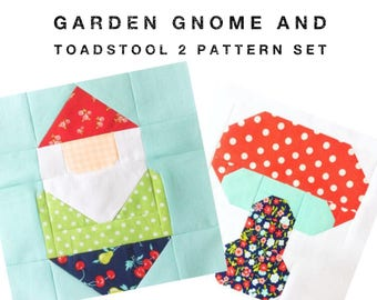 Set of 2 Quilt Block Patterns Garden Gnome and Toadstool Instructions for 6 inch and 12 inch blocks 15% Savings