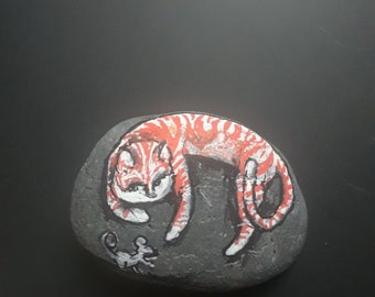 Cat and mouse hand painted rock stone