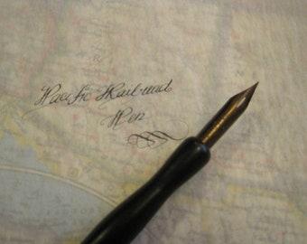 Pacific Railroad Dip Pen Nib in a  black Eagle dip pen holder - Vintage