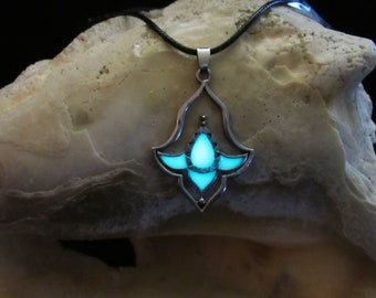 Lotus Pendant / /Glow in the dark necklace .