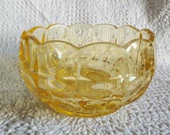 Vintage Light Amber Facet Pressed Glass Bowl