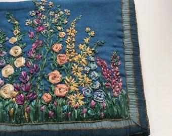 1940s raffia garden embroidered clutch bag with tassel