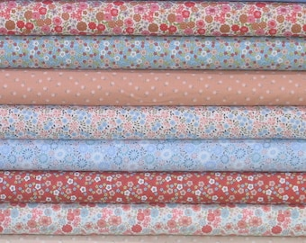 Nine Pink, Red, Blue and Beige Fabrics for Sale, 100% Cotton Quilt Fabric Bundle, Flo's Little Flowers Collection by Lewis & Irene Fabrics