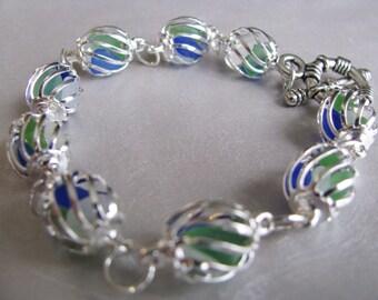 Sea Glass Bracelet - Kelly Green, White, Blue Sea Glass - Caged Bracelet-Beach Glass Bracelet-Ocean Jewelry Sea Glass Genuine Sea Glass