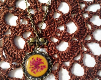 resin jewelry with pressed flower on mustard yellow, cute necklace, unique jewelry, dried flower necklace, autumn 2016 jewelry, gift for her