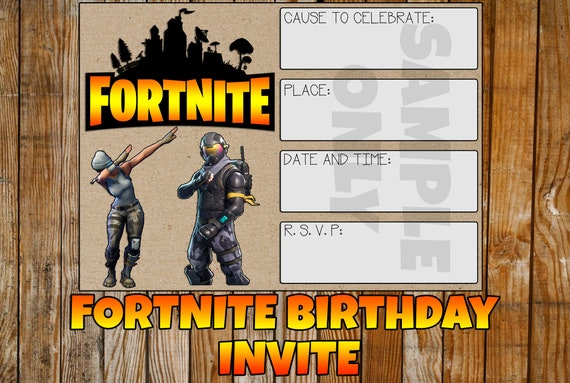 Fortnite Birthday Invitation Cards Printable Indoor Outdoor House