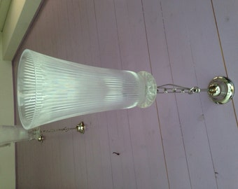 Cut Crystal pendant chandelier, hand-engraved crystal hand made