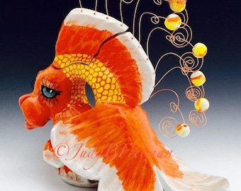 Ceramic Teapot Ready to Ship Handmade Wheel Thrown Stoneware Fish Goldfish Veil Tail TPT0008