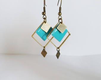 Earrings graphic enamel turquoise two-sided diamonds