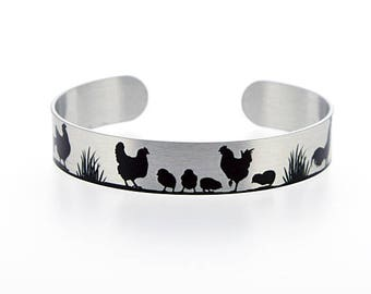 Chicken jewellery, brushed silver cuff bracelet, metal bangle with chickens and hens in black. Farm bird chicken gifts. Secret message. S521