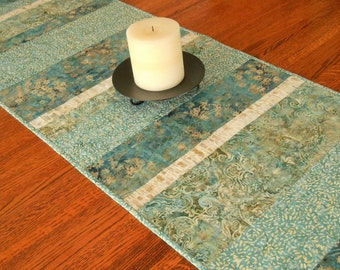 Modern Quilted Table Runner in Shades of Blue Brown Taupe, Blue Batik Table Runner, Extra Long Dining Table Runner, Table Runner Quilt