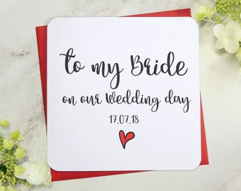 to my bride on our wedding day personalised wedding card uk love wife fiancee