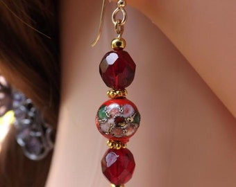 Red cloisonné earrings, red and gold cloisonné earrings, pretty flower earrings, red glass earrings