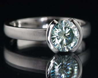 1ct Blue Moissanite Semi Bezel Ring, Unique Half Bezel Solitaire Engagement Ring in Palladium, Platinum, White Gold, Yellow Gold, Rose Gold