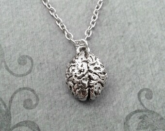 Brain Necklace SMALL Brains Necklace Gothic Necklace Anatomical Brain Charm Necklace Human Brain Pendant Silver Brain Jewelry Horror Jewelry