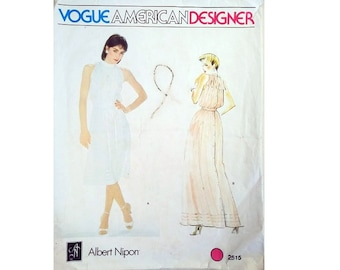 "Vintage Vogue American Designer 2515 Albert Nipon Sleeveless Pleated Mid or Maxi Dress Sewing Pattern Size Bust 32.5"" UK 10"