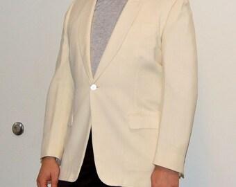 1950s Palm Beach Shawl Collar one Button White Dinner Jacket F.R. Tripler & Co.