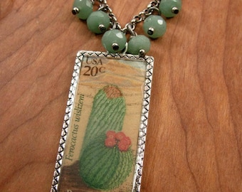Resin Jewelry - Cactus Necklace - Postage Stamp Jewelry - Southwest/Cowgirl Style Deerskin Lace Cactus Themed Postage Stamp Resin Necklace