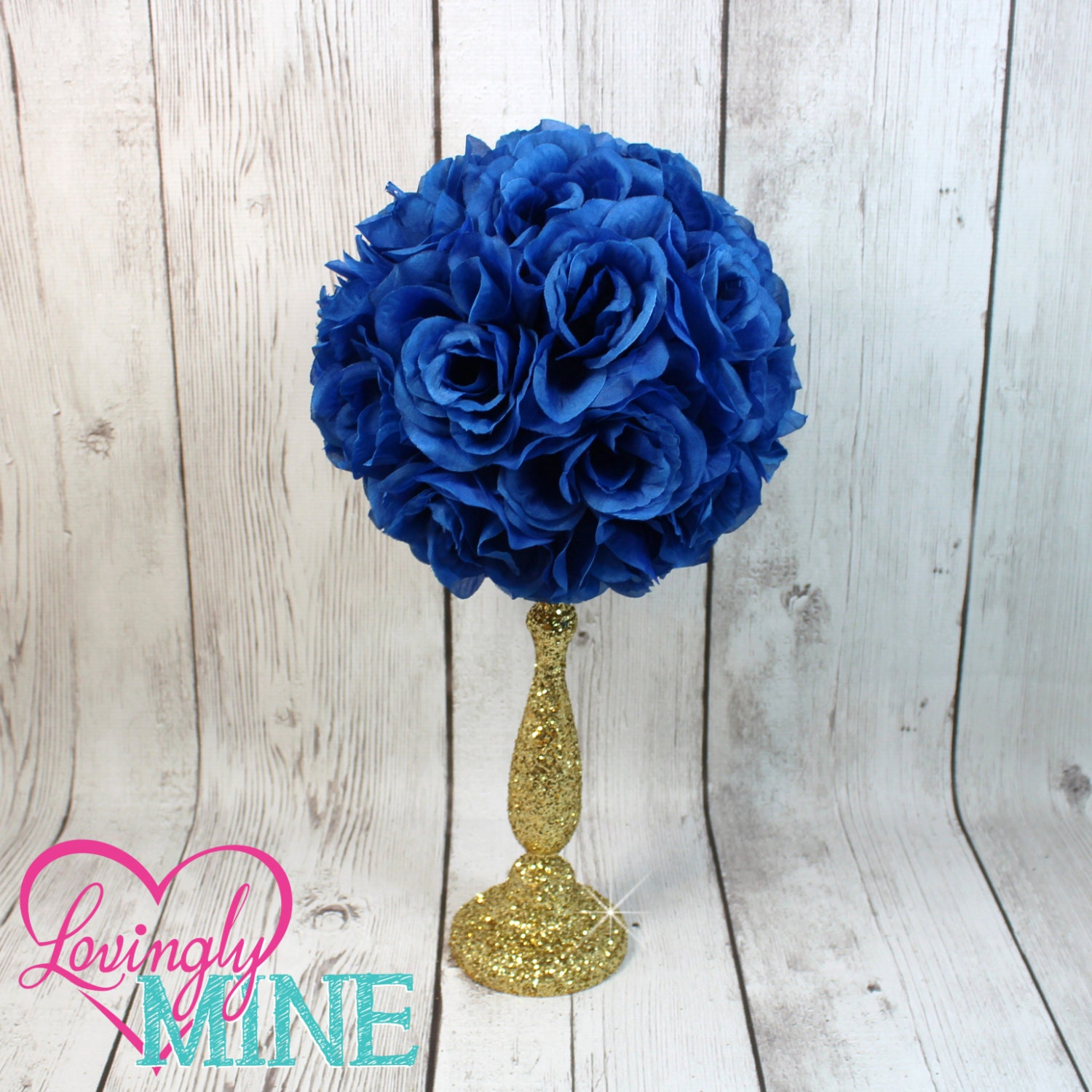centerpiece royal blue rose pomander glitter gold vase royal. Black Bedroom Furniture Sets. Home Design Ideas