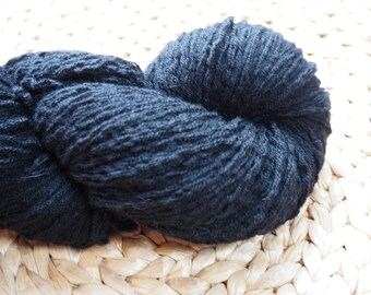 Reclaimed 100% Cashmere Yarn in sport weight, jet black, various lengths