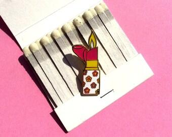 Lipstick Lighter Enamel Lapel Pin