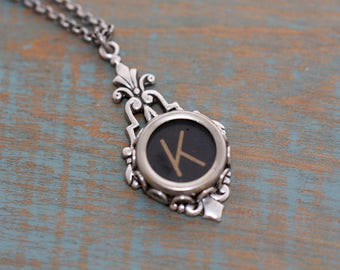 Typewriter Key Necklace-Typewriter K Letter Jewelry- Vintage Aged  Black Letter K-Typewriter Key-Typewriter Letter K Pendant-Glass Top