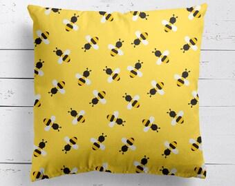 Bee Yellow Pattern Cushion, Bee Pillow, Cushion