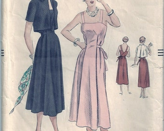 Vintage 1950s Vogue Sewing Pattern 6957 One-Piece Maternity Dress and Bolero Size 16