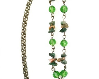 Green Necklace, Vintage Green Necklace, Green and Brown pebbles and emerald beads and emerald like stone